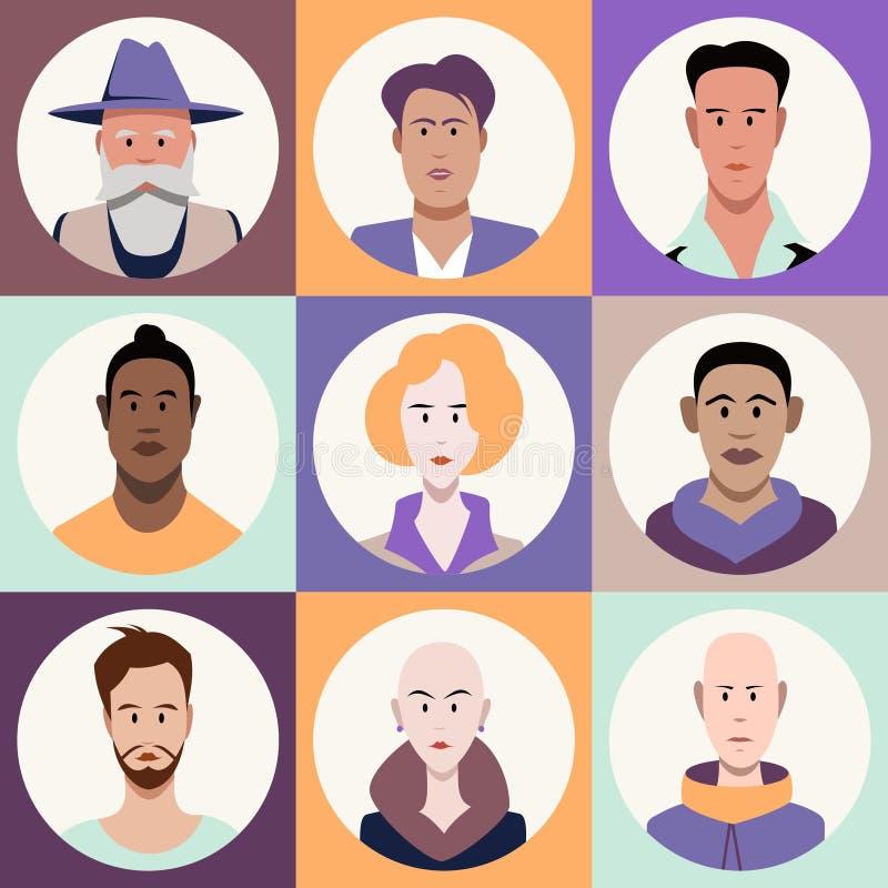 Set różnorodni męscy i żeńscy avatars ilustracja wektor