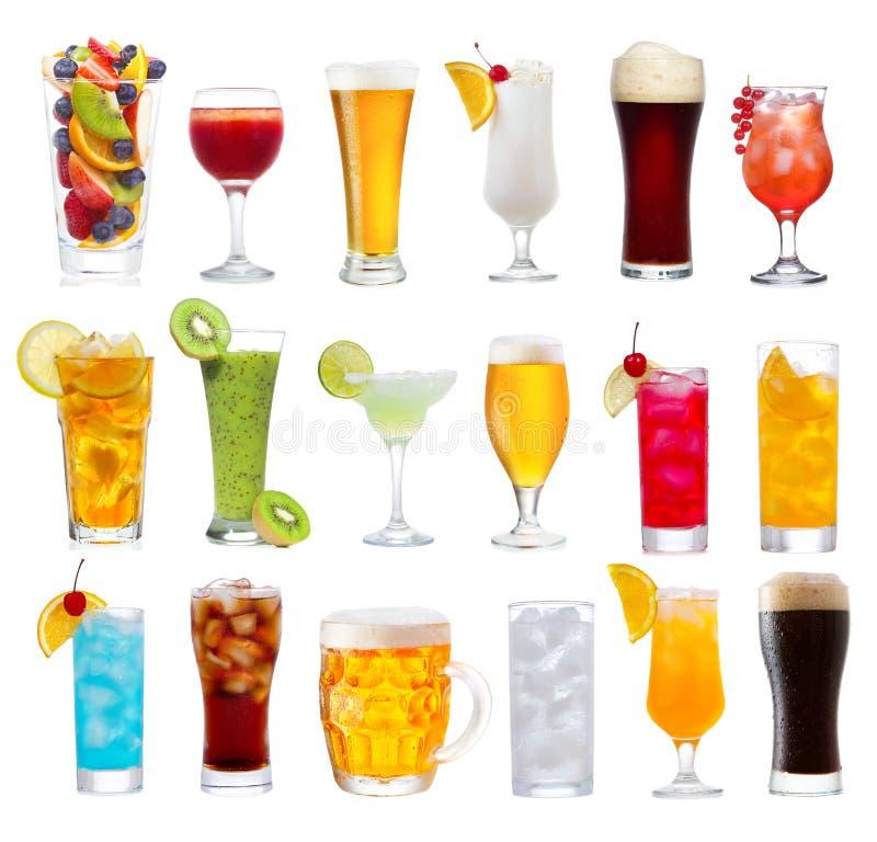 Set różnorodni napoje, koktajle i piwo, zdjęcia royalty free