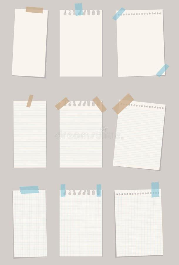 Set różnorodni nutowi papiery również zwrócić corel ilustracji wektora 10 eps fotografia stock