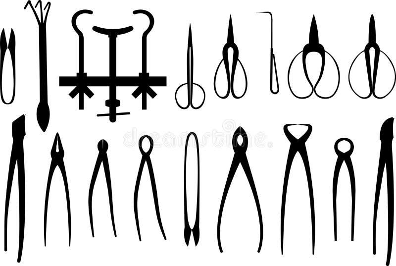 Set różnorodni ogrodnictw narzędzia dla bonsai royalty ilustracja