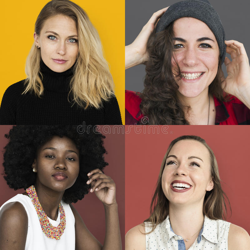 Set różnorodność kobiet twarzy stylu życia studia Wyrażeniowy kolaż zdjęcia royalty free