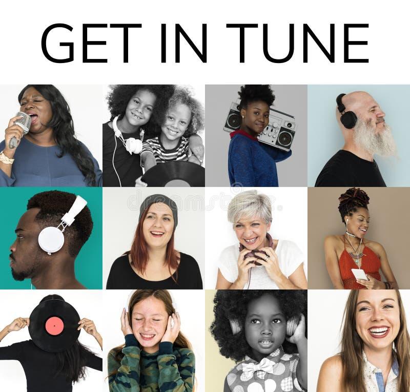 Set różnorodność ludzie Dostaje w Nastrojonym Muzycznym kolażu obraz stock