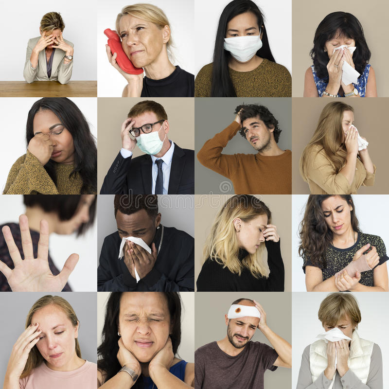 Set różnorodność ludzie z zdrowie choroby studia kolażem zdjęcia royalty free