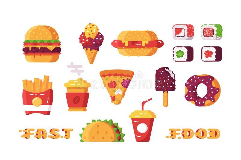 Set różnorodny typ fast food ilustracji