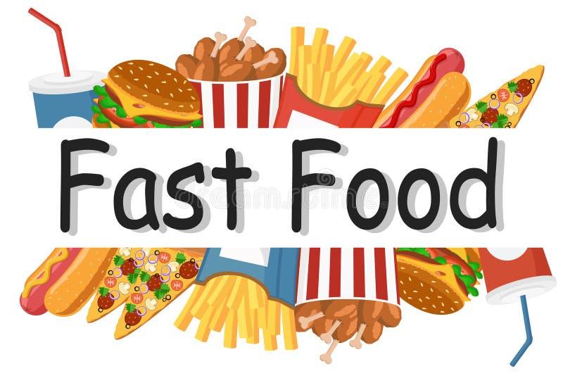 Set różny łasowanie fast food na białym tle ilustracja wektor