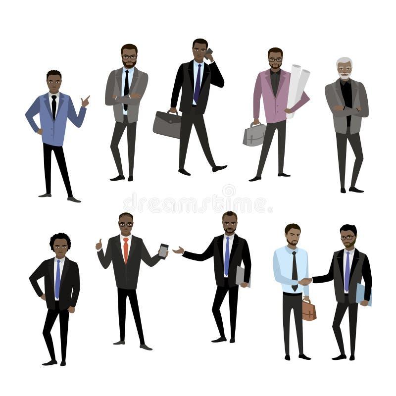 Set różny amerykanina afrykańskiego pochodzenia biznesmena charakter, avatar o royalty ilustracja