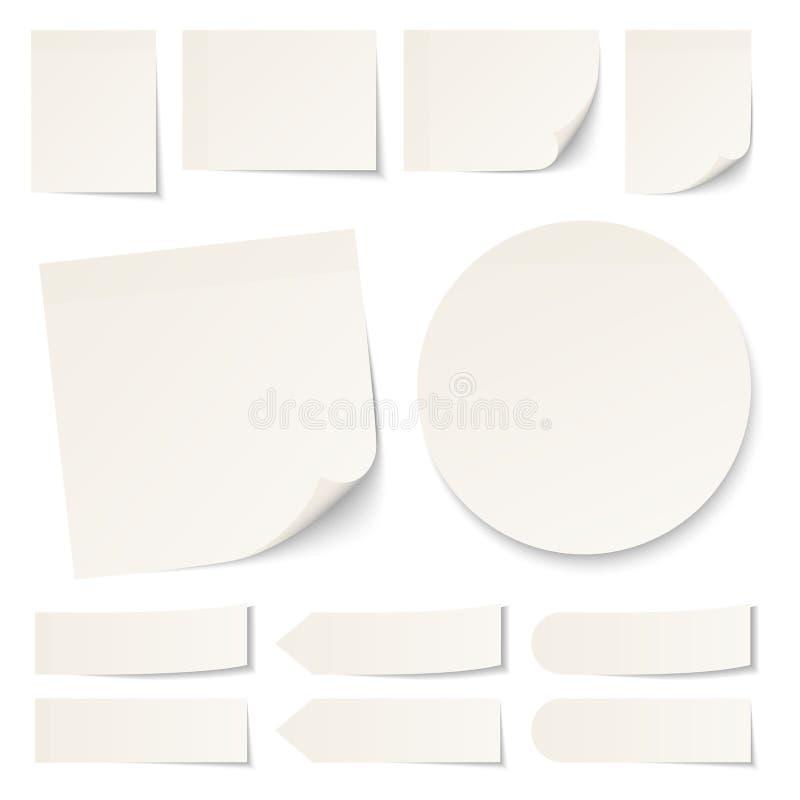 Set Różny Beżowy Kleisty notatki Round Z cieniem ilustracja wektor