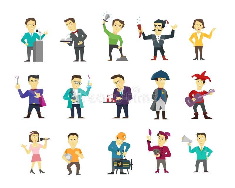 Set różny charakteru projekt Głośnikowy polityk i wiele inny Płaskiego koloru ilustraci zapasu wektorowy clipart ilustracji