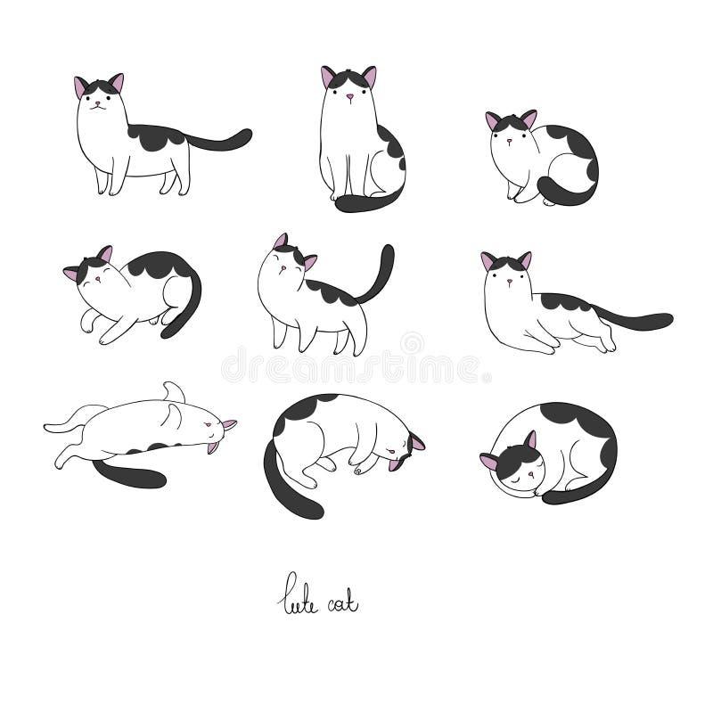 Set różny doodle pozuje kota pets ilustracji
