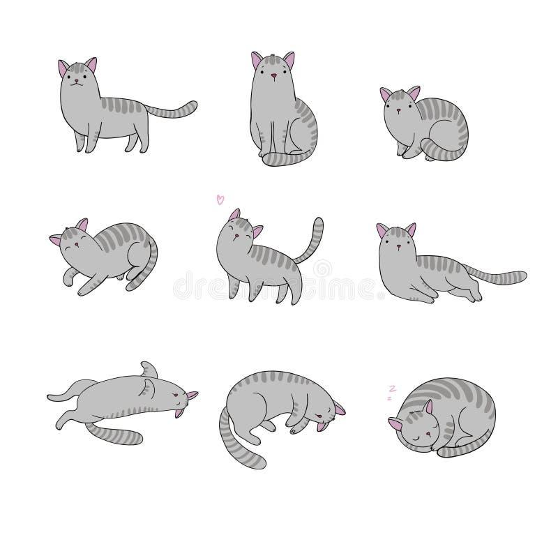 Set różny doodle pozuje kota pets royalty ilustracja