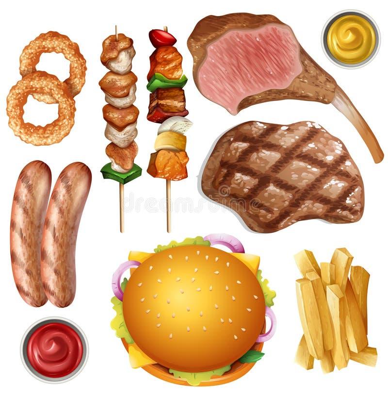 Set różny grilla jedzenie ilustracji