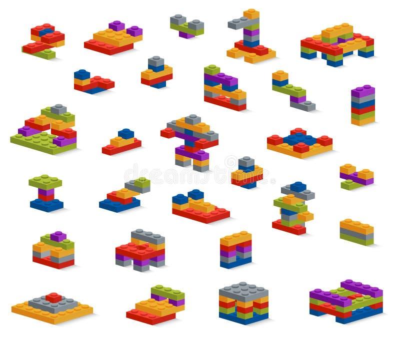 Set różny klingeryt składa konstruktora, różnorodny constructio ilustracja wektor