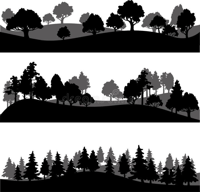 Set różny krajobraz z drzewami ilustracji
