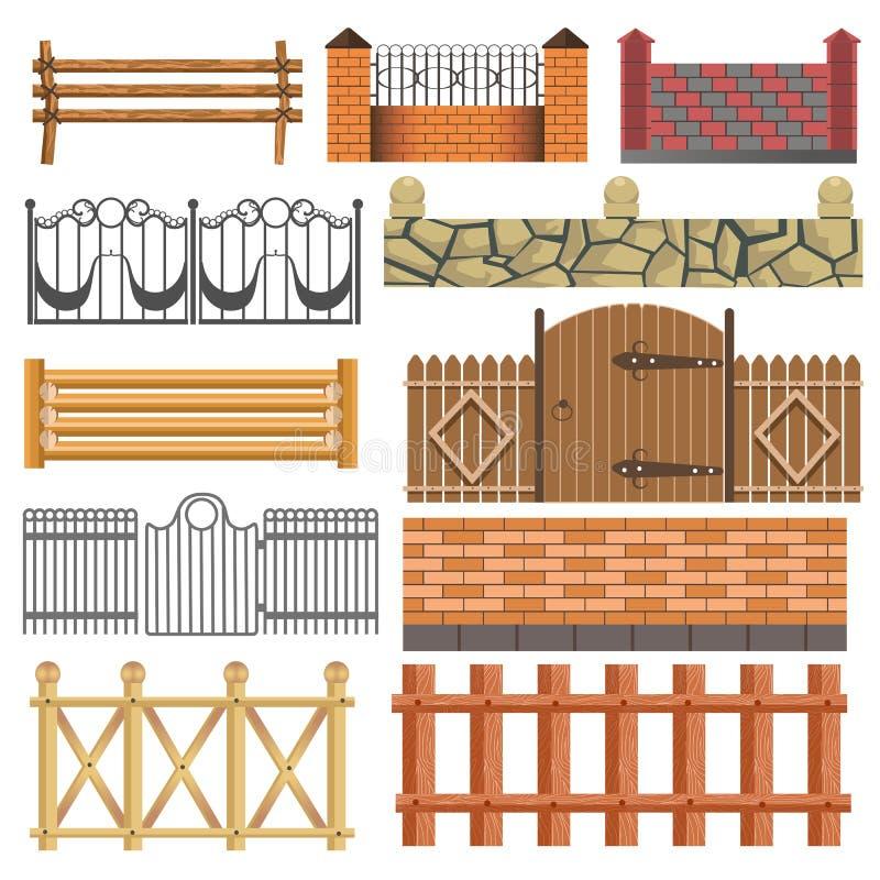 Set różny płotowy projekt ilustracji