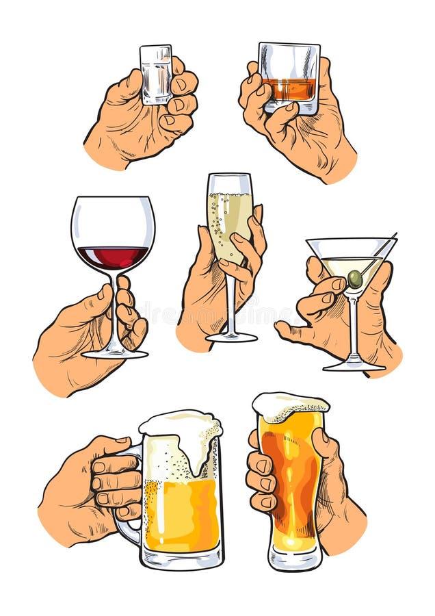 Set różny szklany stemware w ręce royalty ilustracja
