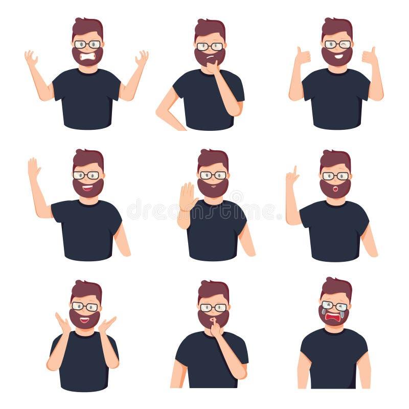 Set różnych emocji męski charakter Przystojny mężczyzny emoji z różnorodnymi wyrazami twarzy również zwrócić corel ilustracji wek ilustracja wektor