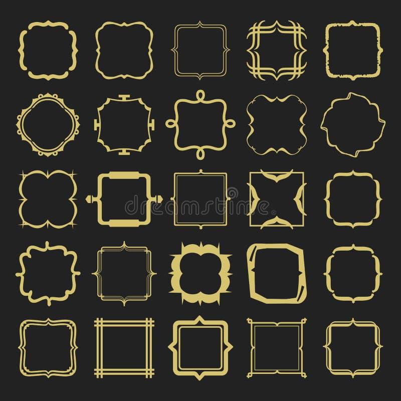 Set różnych stylów złoci kreskowi emblematy i ramy projektujemy elementy ilustracji