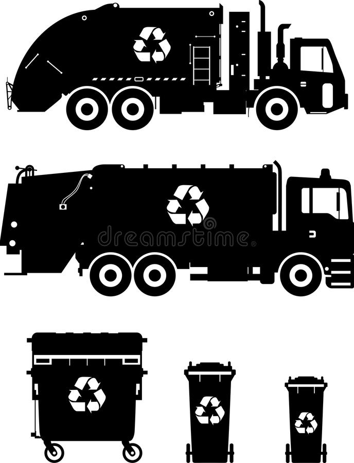 Set różnych sylwetek śmieciarskie ciężarówki i royalty ilustracja