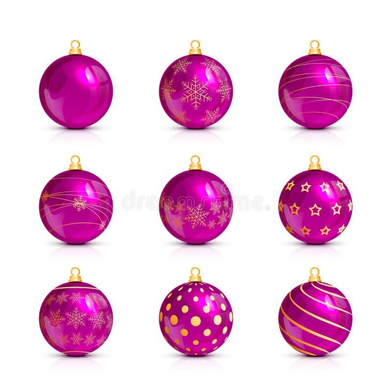 Set różowe Bożenarodzeniowe piłki z złotym wzorem royalty ilustracja