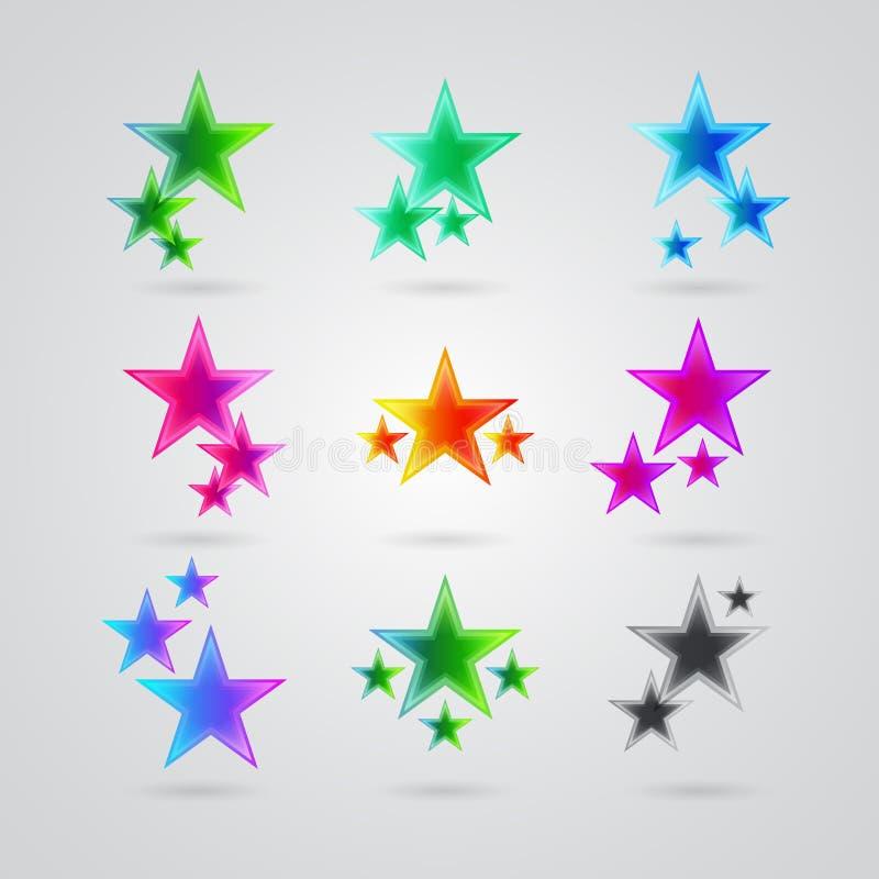 Download Set różne kolorowe gwiazdy ilustracji. Ilustracja złożonej z diagram - 28972255