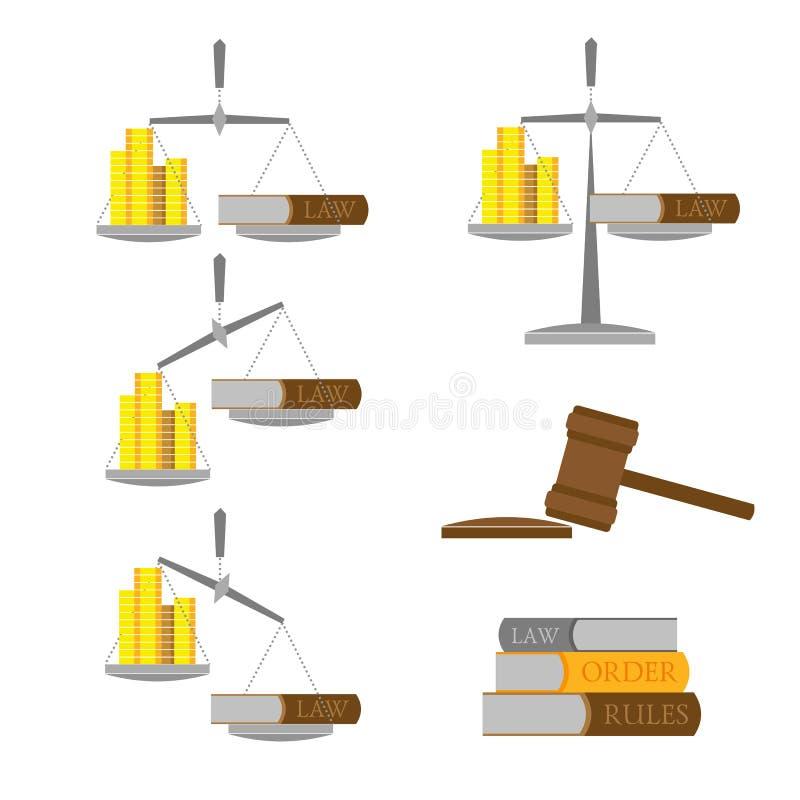 Set równowaga z pieniądze & x28; złocisty coins& x29; i lawbook ilustracji
