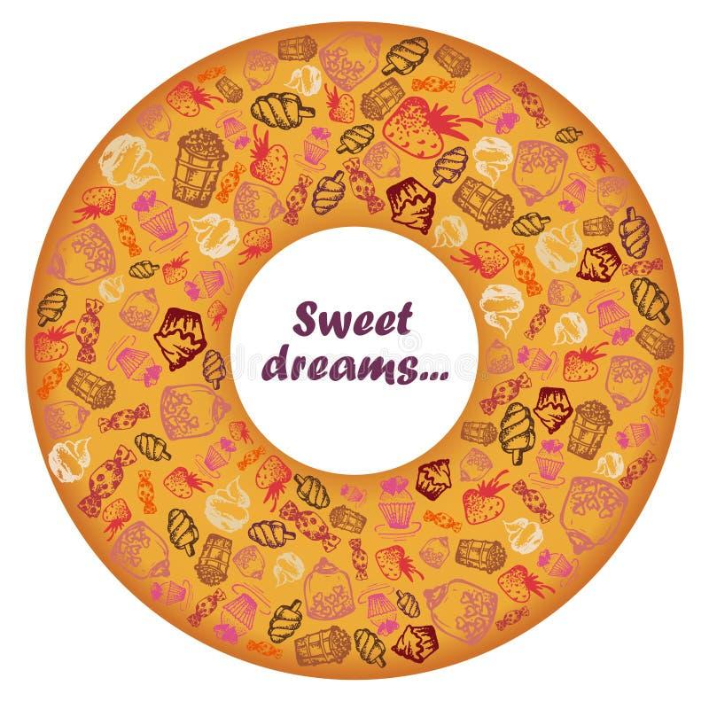 Set ręcznie malowany doodle ikony z jedzeniem, lody, muffins, cukierki, owoc Wypełniający wewnątrz kształt pączka pierścionku tek royalty ilustracja
