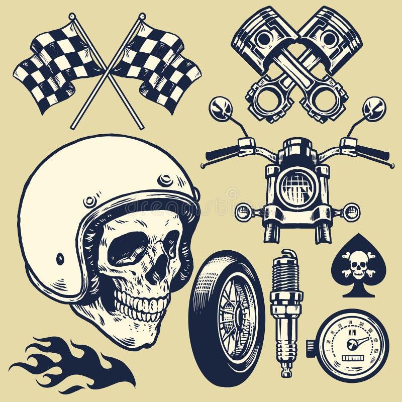 Set ręcznie robiony rocznika motocyklu element ilustracja wektor