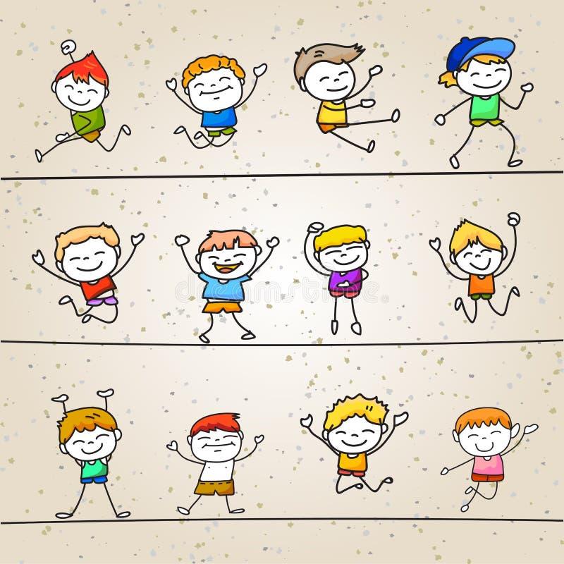 Set ręk kreskówek rysunkowego pojęcia chłopiec szczęśliwy bawić się royalty ilustracja