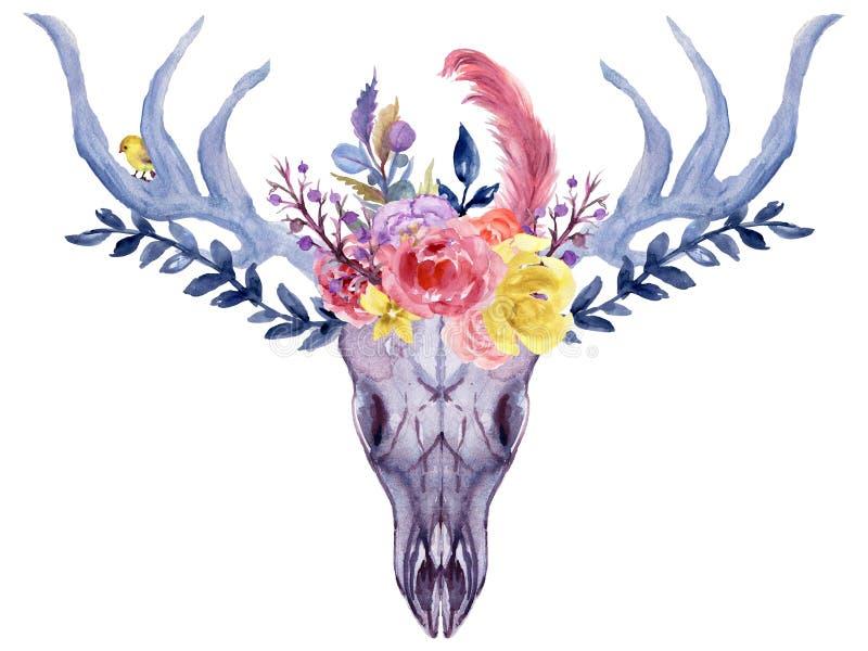 Set ręka malująca akwarela kwitnie, liście, poroże rogacze i rogi w wieśniaku projektują Artystyczny skład doskonalić dla ilustracji