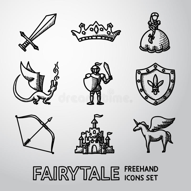Set ręka rysująca bajka, gemowe ikony wektor royalty ilustracja