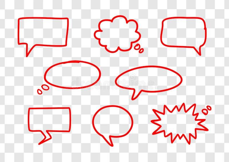 Set ręka rysująca czerwona wektorowa mowa gulgocze royalty ilustracja
