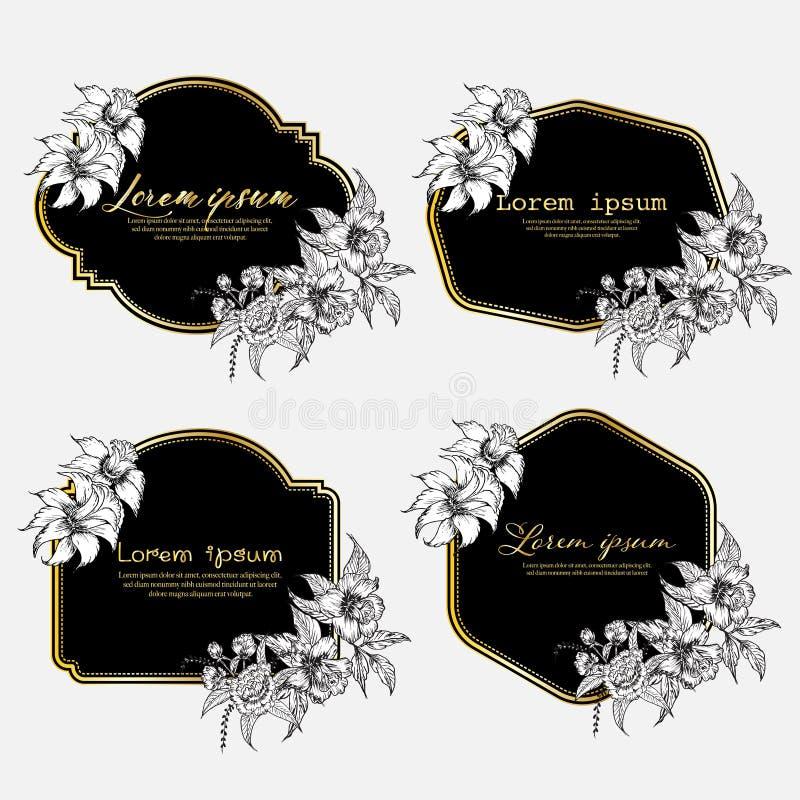 Set ręka rysująca kwiecista rama Geometryczna rama z ręka rysującym kwiatem Botaniczny sk?ad Dekoracyjny element dla ślubnej kart royalty ilustracja