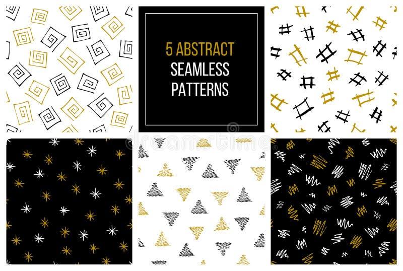 Set ręka rysujący abstrakcjonistyczni bezszwowi wzory obrazy royalty free