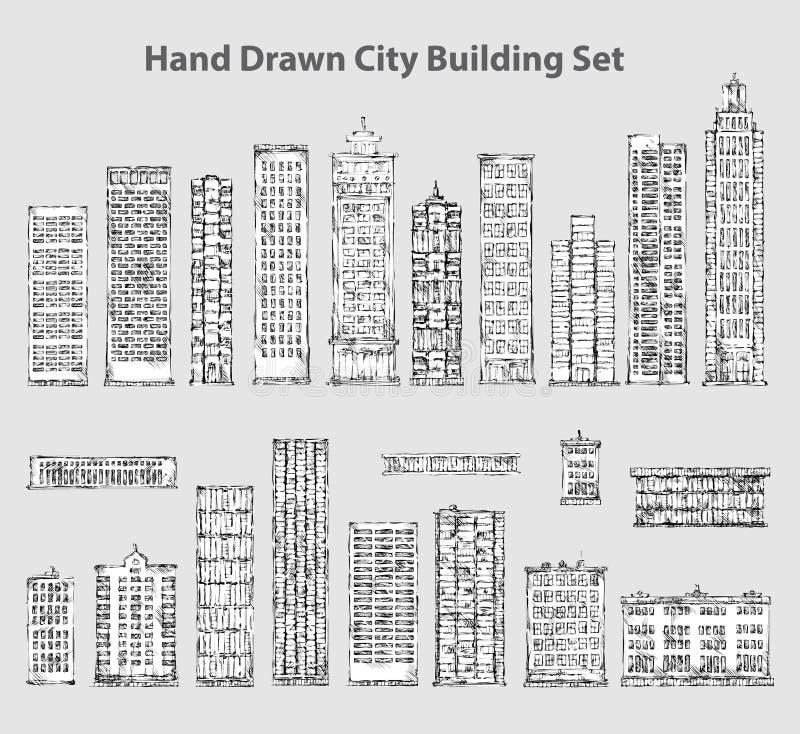 Set ręka rysujący budynki ilustracja wektor