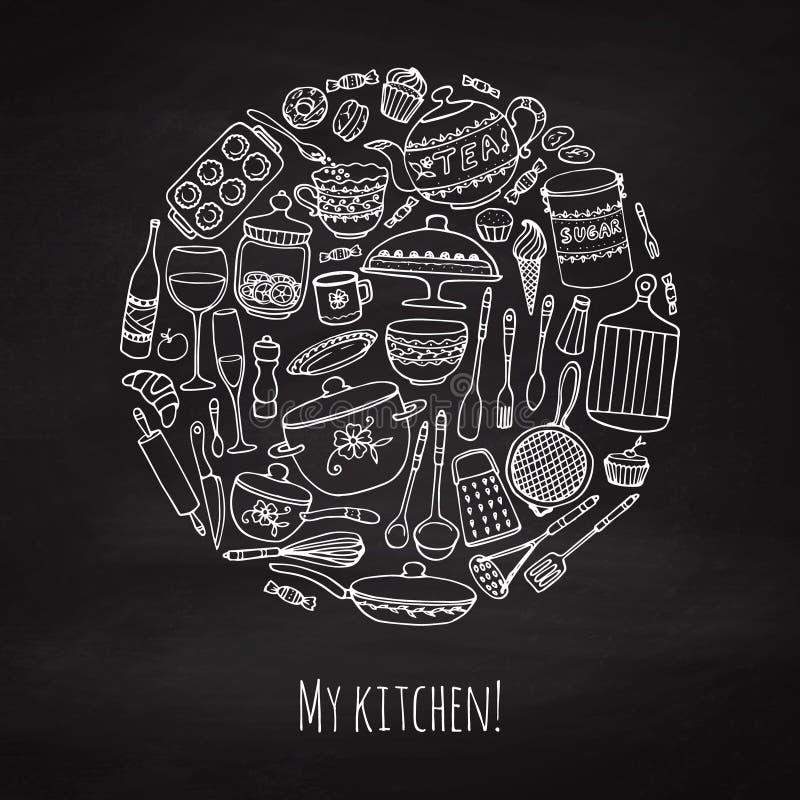 Set ręka rysujący cookware ilustracji