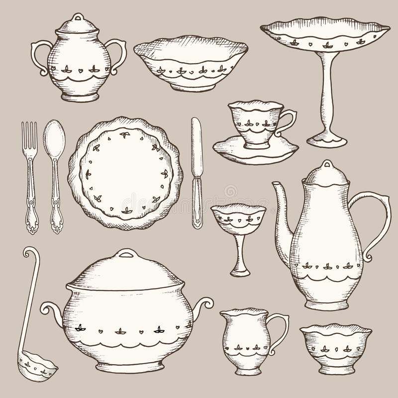 Set ręka rysujący cookware ilustracja wektor