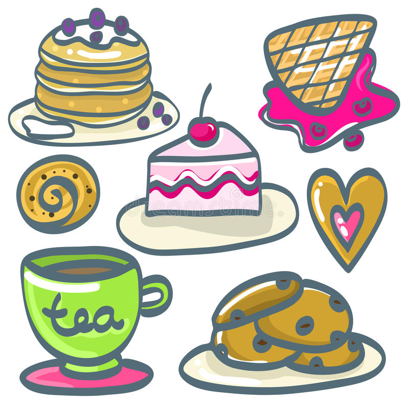 Set ręka rysujący desery również zwrócić corel ilustracji wektora zdjęcie royalty free