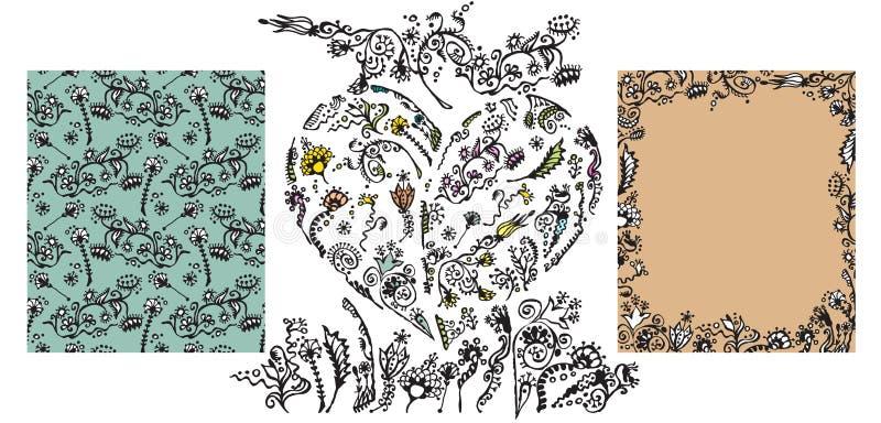 Set ręka rysujący doodle kwieciści elementy ilustracja wektor