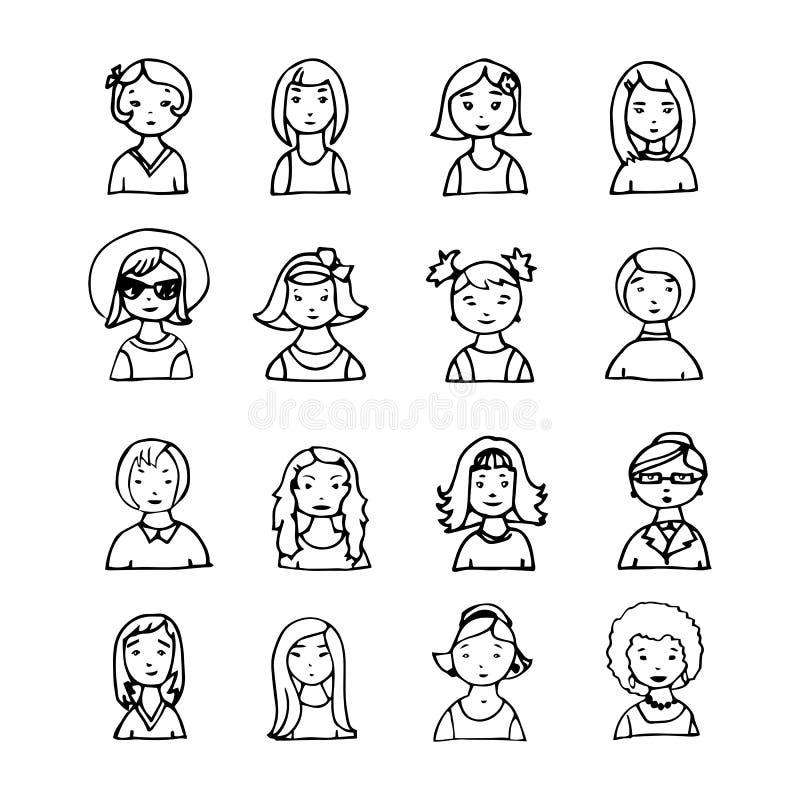 Set ręka rysujący dziewczyna wektoru avatar ilustracji