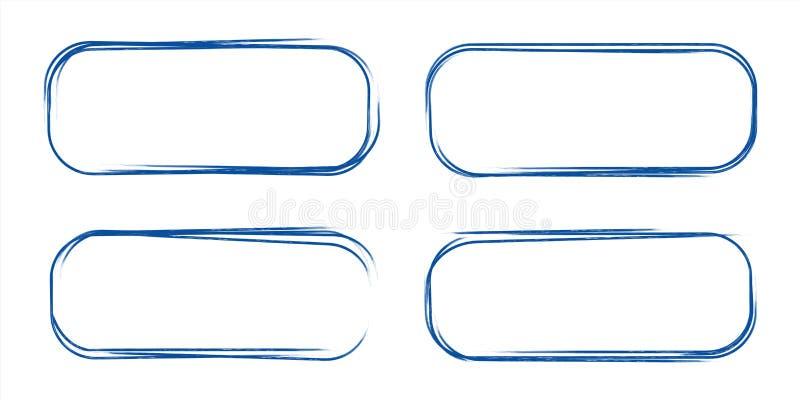Set ręka rysujący grunge stylu zmrok - błękitny rocznika balowego pióra zaokrąglający prostokąt gryzmoli na białego papieru tle ilustracji