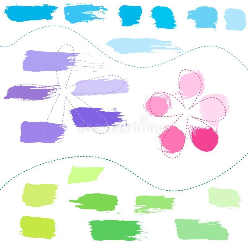 Set ręka rysujący kolorowi projektów elementy royalty ilustracja
