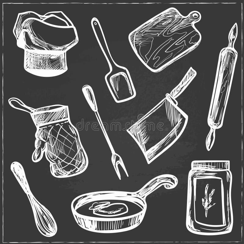 Set ręka rysujący kuchnia przedmioty ilustracja wektor