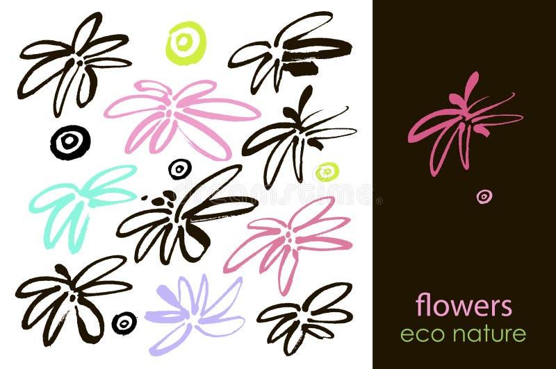 Set ręka rysujący kwiaty, zielony liść, kreśli i doodles różowi kwiaty i rośliny, kwitną wektorową kolekcję royalty ilustracja