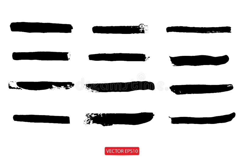 Set ręka rysujący malujący porysowany ilustracja szablon grunge sztandarów tła muśnięcia abstrakcjonistyczna tekstura dla promoti ilustracja wektor