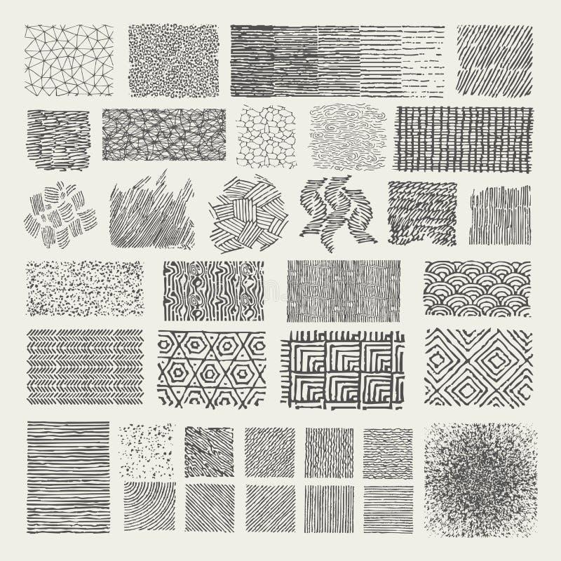 Set ręka rysujący markierów wzory Doodle tekstury royalty ilustracja
