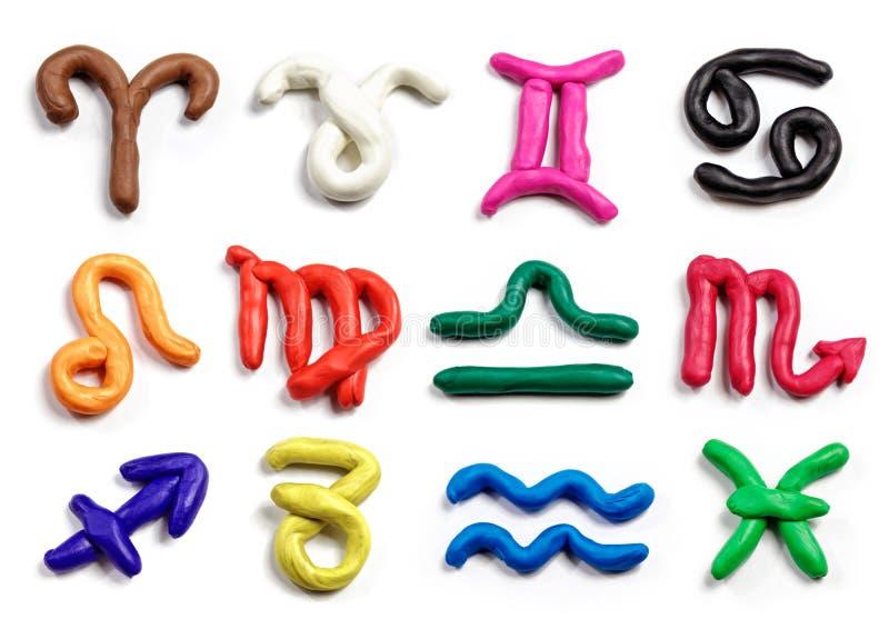 Set ręka rysujący modelarskiej gliny zodiak podpisuje Handmade plasticin ilustracji