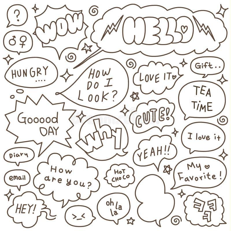 Set ręka Rysujący mowy i myśli bąbli Doodle ilustracja wektor