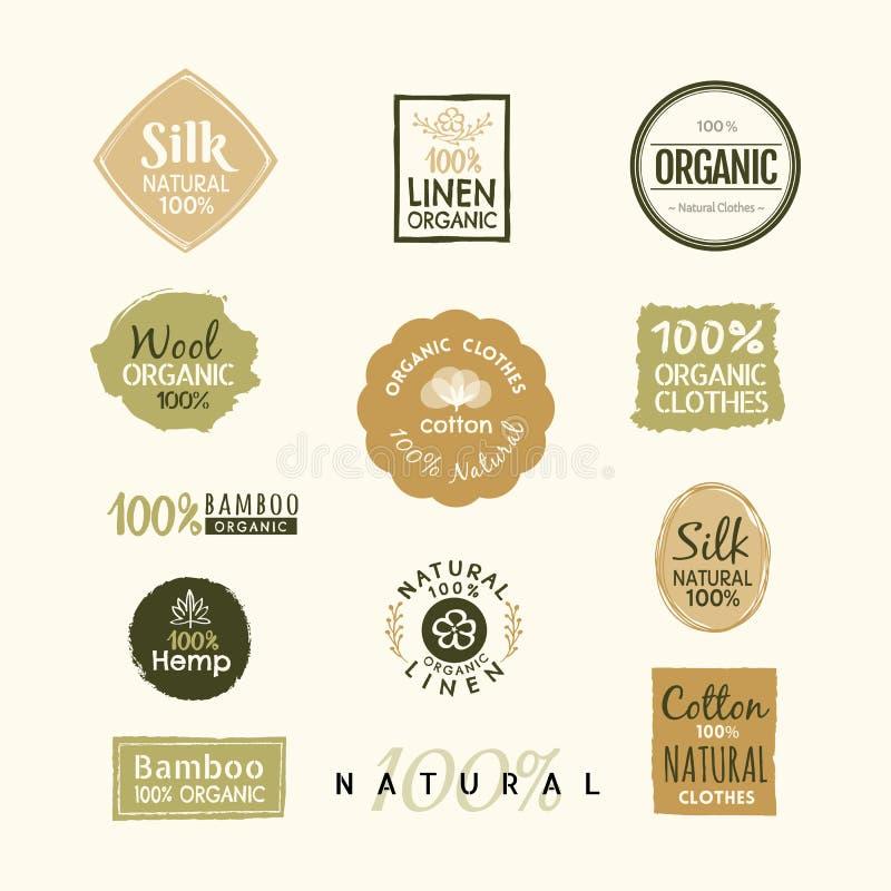 Set ręka rysujący organicznie odzieżowy logo etykietki odznaki projekt royalty ilustracja