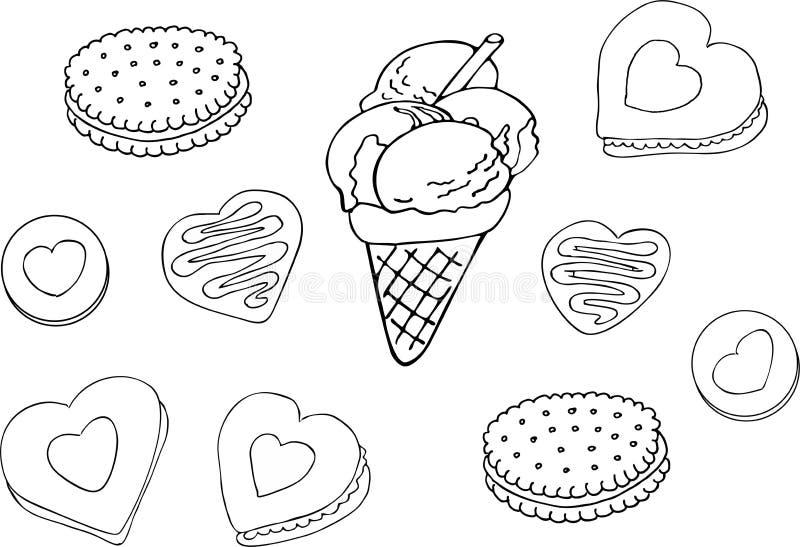 Set ręka rysujący pączek, lody, ciastko abstrakcjonistyczny koloru ryba ilustraci wektor royalty ilustracja