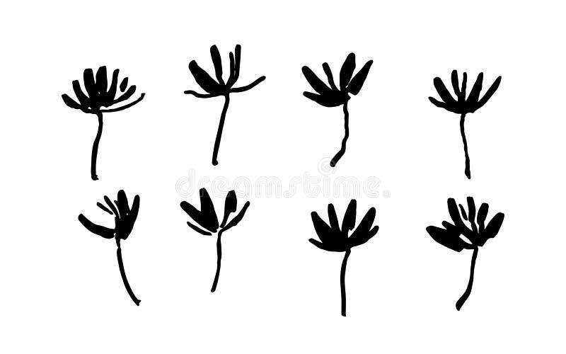 Set ręka rysujący prości szczotkarscy farba kwiaty malował atramentem Grunge stylowi elementy Czerń odosobniony wektor na białym  ilustracji